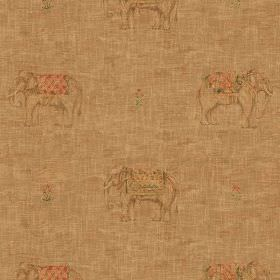 Jehan - Sand - Warm biscuit coloured fabric made from 100% cotton featuring a small, subtle, repeated elephant design