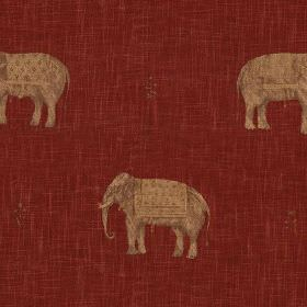 Jehan - Brick Terracotta - Traditional light brown elephant designs printed in rows on a burgundy coloured 100% cotton fabric background