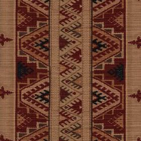 Koutoubia - Brick Terracotta - Tribal designs printed in vertical rows on 100% cotton fabric made in warm, earthy brown, dark red and grey t