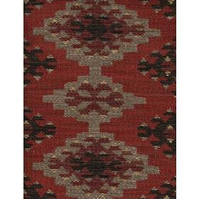 Orillo - Brick - Fabric in cotton with dark red background and triangular shapes in shades of beige