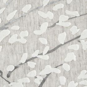 Confetti - Storm - Iron grey branches with stylised white leaves scattered over slightly streaky light grey viscose and polyamide fabric