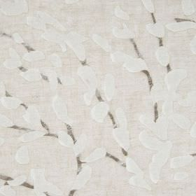 Confetti - Bronze - A subtle, stylised leaf and branch design on viscose and polyamide blend fabric made in three similar pale grey shades