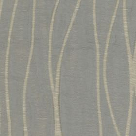 Eden - Pewter - Light shades of blue and grey making up a simple, elegant pattern of curving lines on polyester and linen blend fabric