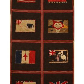 Fante Flag - Charcoal - Fabric with dark grey background with red squares containing flags