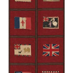 Fante Flag - Red - Fabric with red background with dark squares containing flags