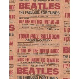 Headliner - Multi - Cotton fabric with buff background depicting red lettering of The Beatles