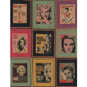 Picture Show - Multi - Cotton fabric with square portraits in yellow, green, black and red surrounds