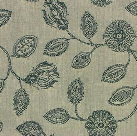 Ambleside Floral - Charcoal - Patterned, stylised, marine blue coloured flowers and leaves printed on a steel grey 100% cotton fabric backgr