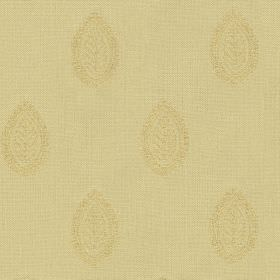 Ambleside Leaf - Corn - Pale gold and warm cream colours making up a subtle leaf patterned teardrop design printed in rows on 100% cotton fa