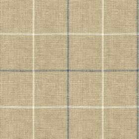 Brunel Check - Denim - Light stone grey coloured 100% linen fabric printed with large, simple, thin grid patterns in white and dusky blue