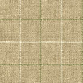 Brunel Check - Leaf - White, grey-beige and olive green coloured fabric made from 100% linen, printed with a large, thin, simple grid design