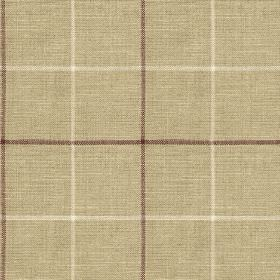 Brunel Check - Plum - Simple grids printed in white and dark aubergine colours on light grey coloured 100% linen fabric