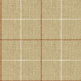 Brunel Check - Saffron - Fabric made from 100% linen in coppery brown, light beige and chalk white, printed with a large, simple grid design