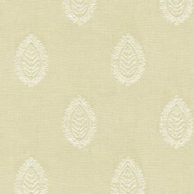 Ambleside Leaf - Cream - Leaf patterned teardrop shapes printed in a stylish white design on putty coloured fabric made from 100% cotton