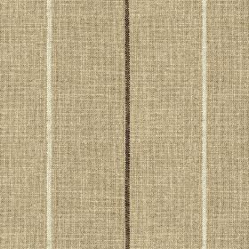 Brunel Stripe - Chocolate - Thin white and black stripes running vertically down a cement grey coloured 100% linen fabric background