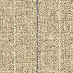 Brunel Stripe - Denim - Cement grey, white and denim blue coloured 100% linen fabric, featuring a widely spaced design of thin vertical line