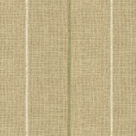 Brunel Stripe - Leaf - Grey-beige 100% linen fabric featuring a widely spaced design of thin vertical lines alternating in white & olive gre