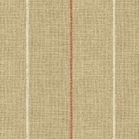 Brunel Stripe - Saffron - White & copper coloured stripes creating a thin, widely spaced, vertical design on 100% linen fabric made in light