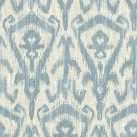 Ikat Print - Wedgewood - Light blue and white coloured cotton and linenblend fabric printed repeatedly withstylish, modern tribal style de