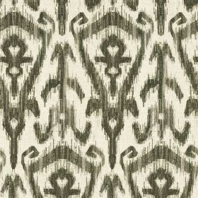 Ikat Print - Carbon - Charcoal and white coloured modern tribal style patterns printed repeatedly on stylish cotton and linen blend fabric