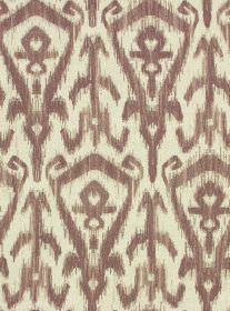 Ikat Print - Damson - White cotton & linen blend fabric printed repeatedly with a stylish modern tribal style design in a dusky purple colou