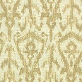 Ikat Print - Parchment - Cotton and linen blend fabric made in off-white, printed with a light creamy beige coloured modern tribal style pat