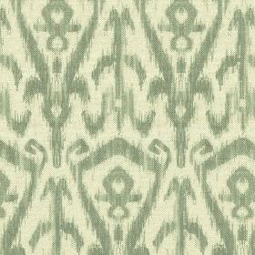 Ikat Print - Thyme - Modern tribal style patterns printed repeatedly on cotton and linen blend fabric in off-white andblue-grey colours