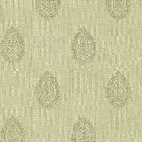 Ambleside Leaf - Sage - A light green-grey coloured design of leaf patterned teardrop shapes printed on 100% cotton fabric in a paler shade