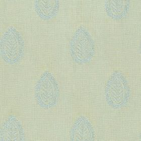 Ambleside Leaf - Spring Blue - Duck egg blue coloured 100% cotton fabric, featuring rows of subtle, elegant, icy blue leaf patterned teardro