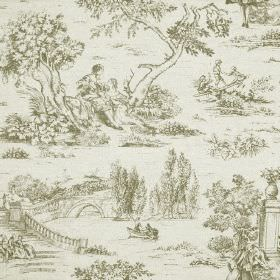 Avignon Print - Carbon - Drawings of outdoor scenes featuring trees, people, bridges and rivers printed on pale grey-white cotton-linen fabr