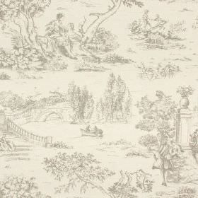 Avignon Print - Clay - Cotton-linen fabric in two light grey shades, with drawings of outdoor scenes featuring trees, people, bridges & rive