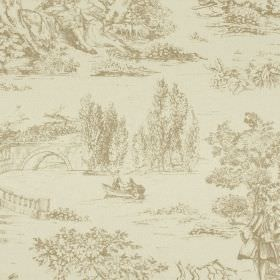 Avignon Print - Parchment - Drawings of trees, people, bridges and rivers printed on cotton-linen fabric made in two pale shades of grey