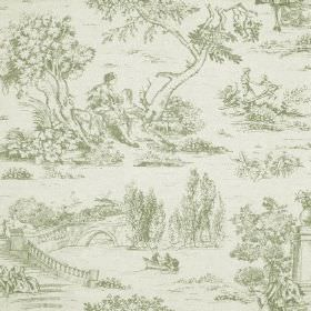 Avignon Print - Thyme - Grey drawings of trees, people, bridges and rivers printed on an off-white cotton and linen blend fabric background