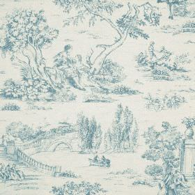 Avignon Print - Wedgewood - Denim blue & white coloured cotton-linen fabric printed with drawings of outdoor scenes, people, trees, bridges