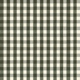Breton - Carbon - Slate grey and white coloured checked fabric made from 100% cotton