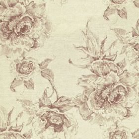 Chatsworth Print - Damson - Elegant, glamorous, light purple-grey coloured floral patterns printed on off-white fabric made from cotton and