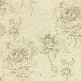 Chatsworth Print - Thyme - Cotton and linen blend fabric printed with large, elegant, glamorous floral patterns in light shades of cream and