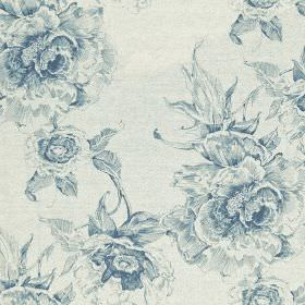 Chatsworth Print - Wedgewood - Pale grey-white coloured fabric made from cotton and linen, printed with denim blue coloured elegant, glamoro