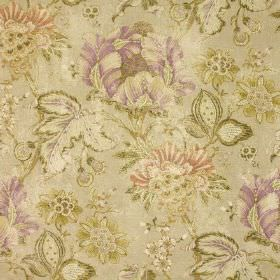 Brackendene Print - Mauve - Stone coloured cotton-linen fabric featuring busy flowers and leaves in muted lavender, dusky pink & olive green