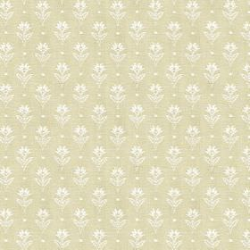 Ambleside Sprig - Cream - Stone grey coloured 100% cotton printed with rows of small, individual, simple flowers and dots in white