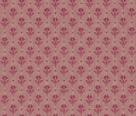 Ambleside Sprig - Raspberry - Dark pink coloured small, simple, individual flowers and dots printed in rows on light, dusky purple 100% cott