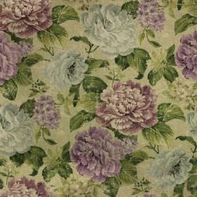 Florence Print - Heather - Floral linen-cotton fabric, with flowers in dark pink, lilac and pale grey shades, with deep forest green leaves