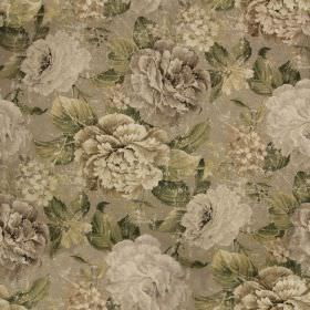Florence Print - Natural - Off-white, cream and various grey-beige shades making up an elegant, glamorous floral pattern on linen-cotton fab
