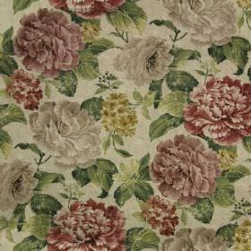 Florence Print - Red - Pale grey linen and cotton blend fabric printed with busy florals in dark muted pale grey, gold, green & blood red to