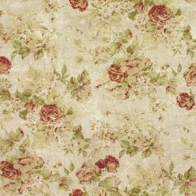 Greendale Floral Print - Rose - Off-white linen-cotton fabric printed with busy floral patterns in light shades of blood red, sage green & c