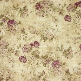 Greendale Floral Print - Violet - Fabric made from linen and cotton in dark purple and various shades of grey-beige, featuring a busy floral