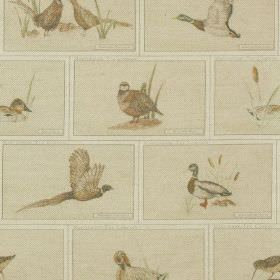 Game Birds - Print - White cotton-linen fabric with pale grey bricks, each with a pale brown-beige pheasant, partridge, duck or reed print