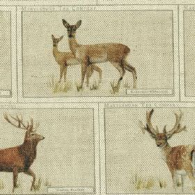 Highland Herd - Print - Rich brown stags and deers printed in pale grey brick shapes on a white cotton and linen blend fabric background