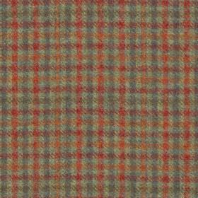 Hodder Check - Ember - Scarlet, maroon, dark blue-grey and iron grey colours making up a checked design woven into 100% wool fabric