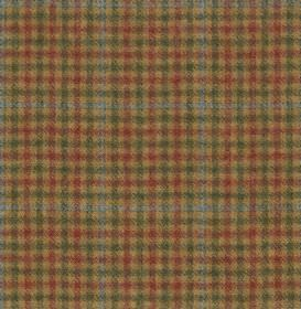 Hodder Check - Pasture - Coffee coloured 100% wool fabric woven with a small, simple checked design inpowder blue, blood red and dark green